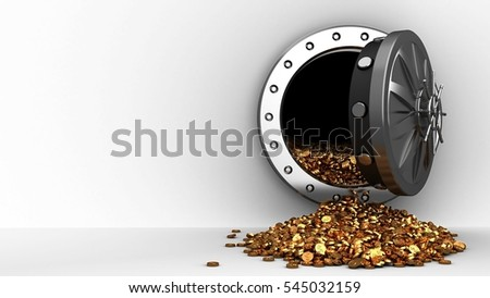 3d illustration of vault door and coins over white background
