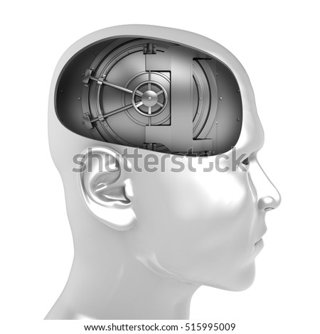 3d illustration of vault door inside man head over white background