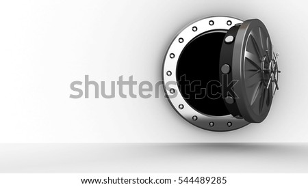 3d illustration of vault door over white background