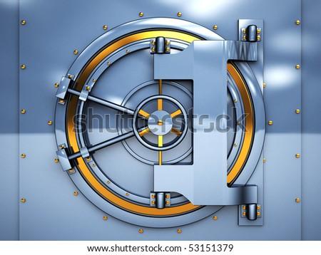 3d illustration of vaulted bank door, blue and golden metal - stock photo