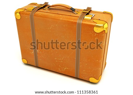 3d illustration of vintage leather suitcase against white - stock photo