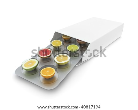 3d illustration of vitamin pills blister getting out form the box - stock photo