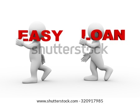 3d illustration of walking people carrying word text easy loan on their shoulder.  3d rendering of man people character - stock photo
