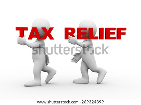 3d illustration of walking people carrying word text tax relief on their shoulder.  3d rendering of man people character - stock photo