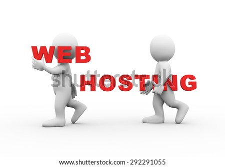 3d illustration of walking people carrying word text web hosting on their shoulder.  3d rendering of man people character - stock photo