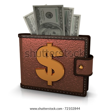 3d illustration of wallet full of money over white background