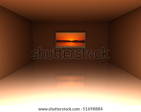 3d illustration of warm colors room with tv