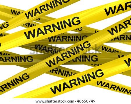 3d illustration of warning ribbons isolated over white background - stock photo