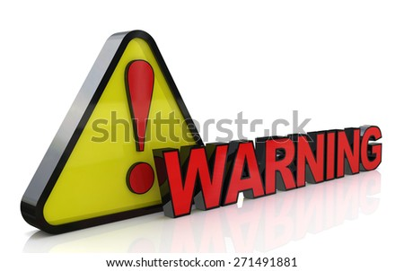 3d illustration of warning sign with exclamation mark - stock photo