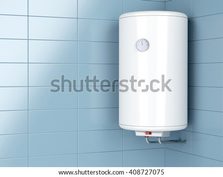 3d illustration of water heater in the bathroom