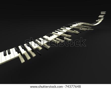 3d illustration of wave of many long keybord - stock photo