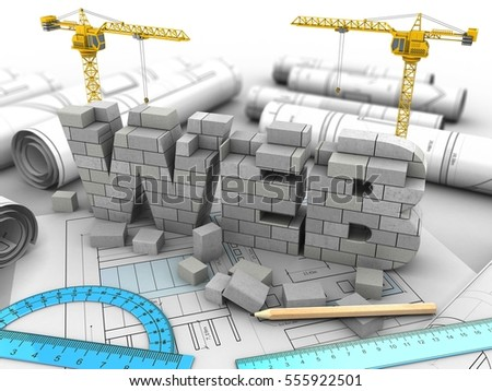 3d illustration of web development over drawing rolls background with two cranes
