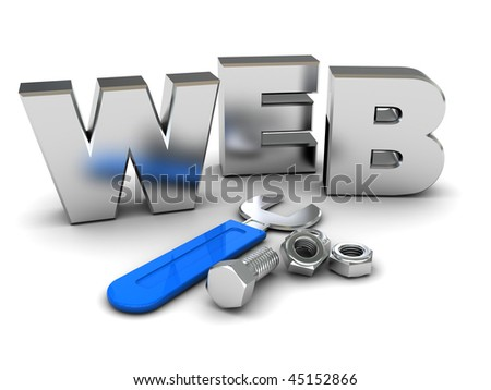 3d illustration of 'web' sign and wrench, web design concept - stock photo