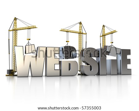 3d illustration of website sign with building cranes - stock photo