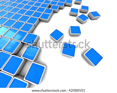 3d illustration of white background with blue rounded blocks at left side
