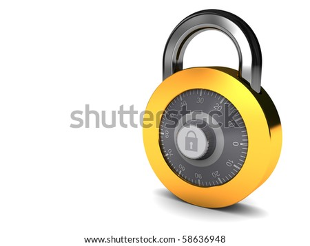 3d illustration of white background with combination lock at right side
