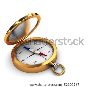 3d illustration of white background with compass at left side - stock photo