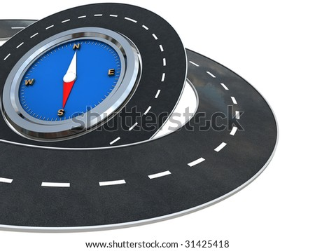 3d illustration of white background with roads and compass at left side
