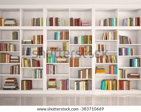 3d illustration of White bookshelves with various colorful books - stock photo