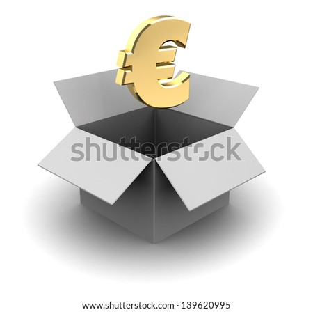 3d illustration of white cardboard box with euro sign