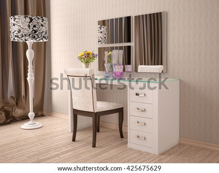 3d of white dressing table with a mirror in modern style