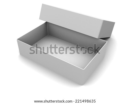 3d illustration of white empty box, over white background - stock photo