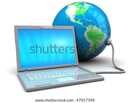 3d illustration of white laptop connected to earth globe - stock photo