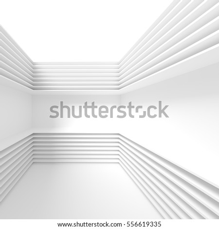 3d Illustration of White Modern Architecture Background. Abstract Buildings Design