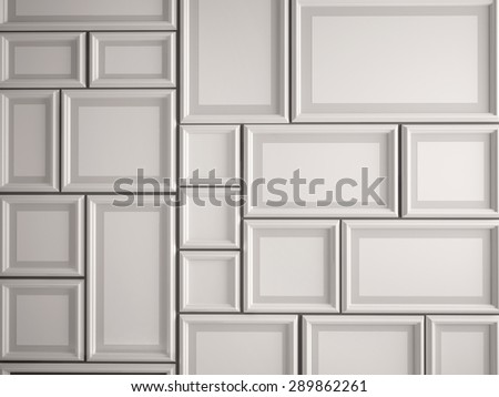 3D illustration of white photo frame on the wall
