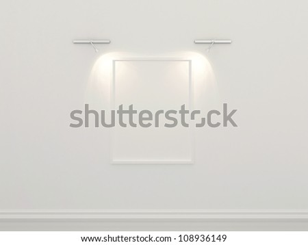 3d-illustration of white picture frame on the wall with gallery lighting
