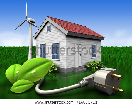 3d illustration of wind energy house with eco power cable over meadow background