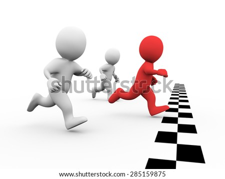 3d illustration of winner man racer crossing check mark finish line. Concept of race, sport, competition, winning. 3d rendering of human people character