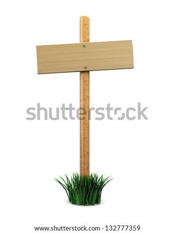 3d illustration of wood sign with grass, over white background - stock photo