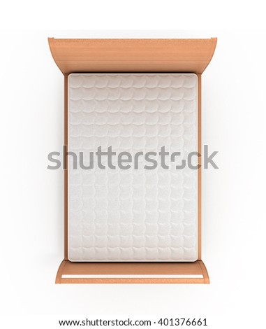 3d illustration of wooden bed with a mattress isolated on white - stock photo