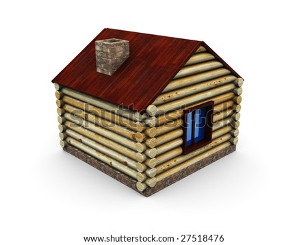 3d illustration of wooden house isolated over white background