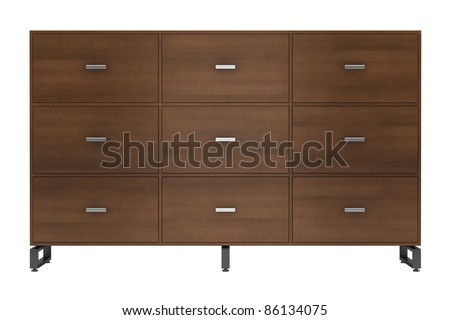 3d illustration of  wooden office cabinet isolated on white background - stock photo