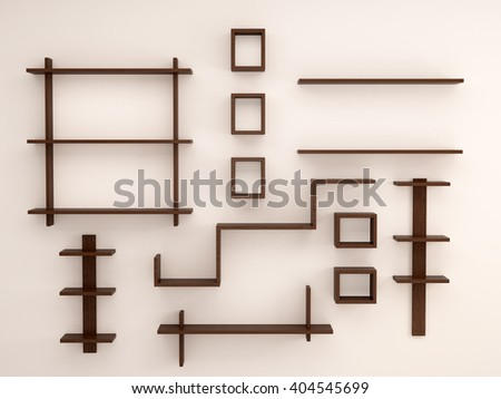 3d illustration of Wooden, randomly arranged on the light wall shelves - stock photo