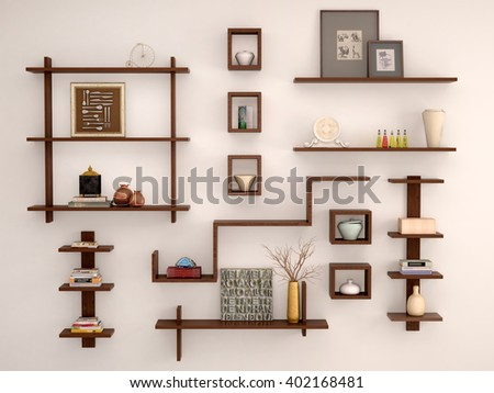 3d illustration of Wooden, randomly arranged on the light wall shelves with different decor and facilities. - stock photo