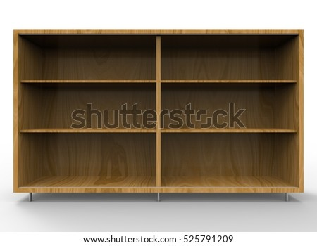 3d illustration of wooden shelves. white background isolated. icon for game web.