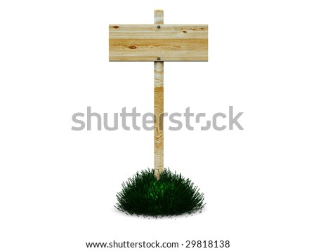 3d illustration of wooden sign or index on grass