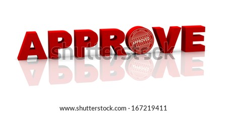 3d illustration of word approve with rubber stamp - stock photo