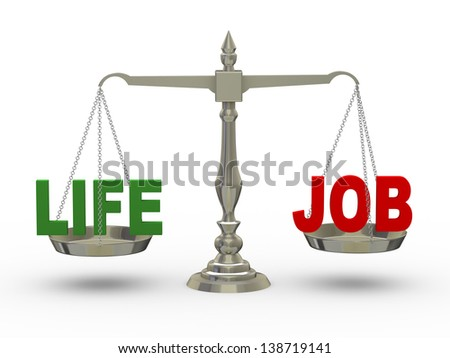3d illustration of word life and job on scale. - stock photo