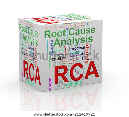 3d Illustration of word tag wordcloud cube of rca - root cause analysis - stock photo