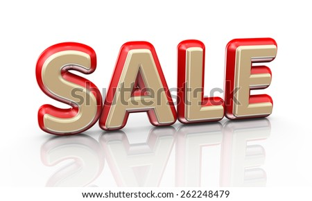 3d illustration of word text sale on reflective background - stock photo