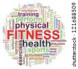 3d Illustration of Wordcloud word tags of fitness - stock photo