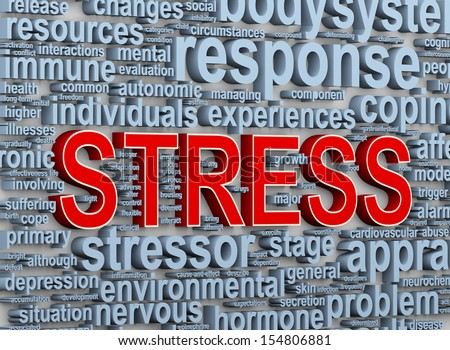 3d Illustration of wordcloud word tags of stress - stock photo