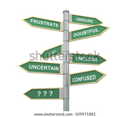 3d illustration of words sign post related to concept of confusion - stock photo