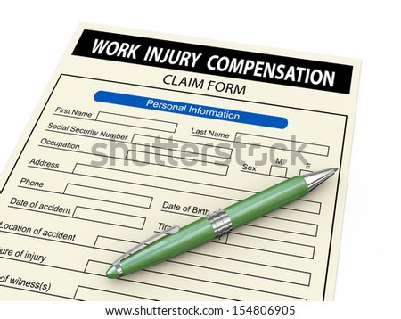 3d illustration of work injury claim form and pen. - stock photo