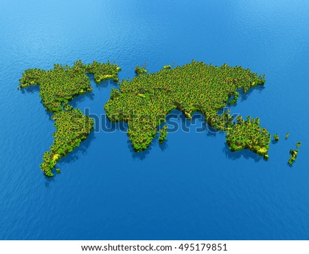 3d illustration of world map forest