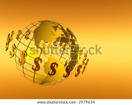 3D Illustration of World with circulating dollars, isolated on gradient background, financial concept, - stock photo